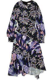 Peter Pilotto   Asymmetric printed silk midi dress at Net A Porter