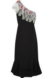 Peter Pilotto   One-shoulder crocheted lace-paneled stretch-cady dress at Net A Porter