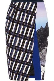 Peter Pilotto   Vic tweed-paneled printed strech-crepe skirt at Net A Porter