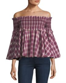 Petersyn Davenport Off-the-Shoulder Smocked Plaid Top at Neiman Marcus