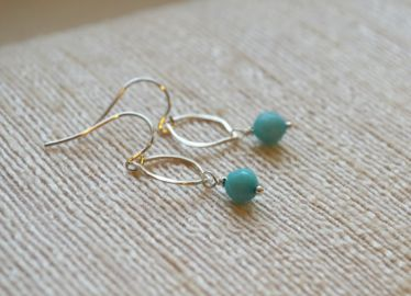 Petite Teardrop Sterling Silver and Amazonite Earrings at Etsy