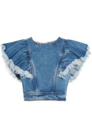 Philosophy di Lorenzo Serafini   Cropped ruffled denim top at Net A Porter
