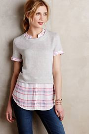 Picnic Plaid Layered Sweatshirt at Anthropologie