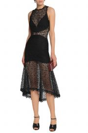 Picot-trimmed fluted lace dress at The Outnet