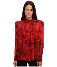 Pierre Balmain Leopard Print Long Sleeve Sheer Blouse Print at 6pm