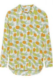 Pineapple-print silk-crepe shirt at The Outnet