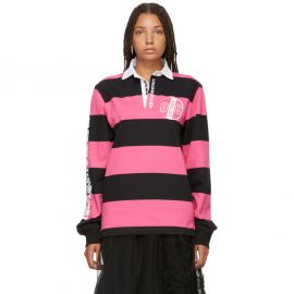 Pink & Black Striped Rugby Long Sleeve Polo at SSense
