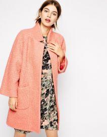 Pink  Ganni Poodle Coat in Pink at Asos