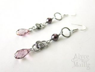 Pink Keepsake Crystal and Pearl Earrings at Etsy