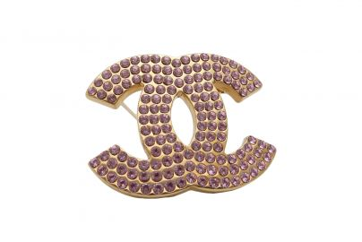 Pink Rhinestone Chanel Pin at eBay