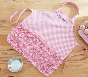 Pink Ruffle Gingham Apron at Pottery Barn