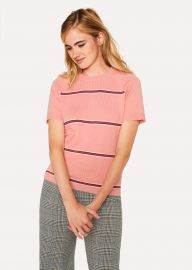Pink Stripe Cotton Short-Sleeve Sweater at Paul Smith