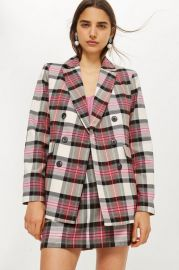 Pink Tartan Jacket at Topshop