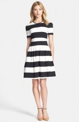 Pink Tartan Stripe Vogue Ponte Fit andamp Flare Dress at Nordstrom