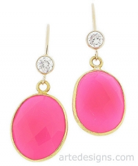 Pink Tourmaline Gemstone Earrings at Arte Designs