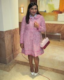 Pink Tweed Coat at Salvador Perez
