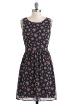 Pink and black floral dress from Modcloth at Modcloth