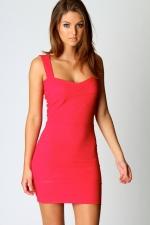 Pink bodycon dress at Boohoo at Boohoo