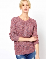Pink chunky knit sweater at Asos
