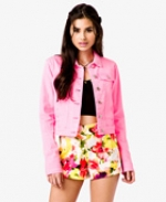 Pink denim jacket from Forever 21 at Forever 21