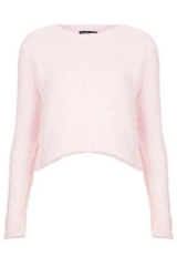Pink fluffy crop jumper at Topshop
