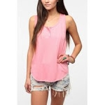 Pink henley tank top at Urban Outfitters