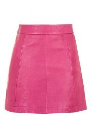 Pink leather aline skirt at Topshop