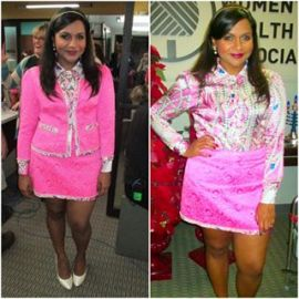 Pink pearl print shirt and jacket at Salvador Perez