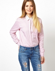 Pink shirt with white collar at Asos