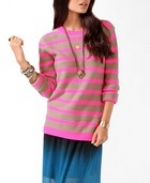 Pink striped sweater at Forever 21