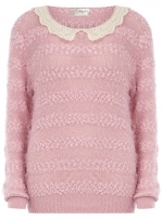 Pink sweater with white lace collar at Dorothy Perkins at Dorothy Perkins