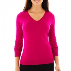 Pink v neck sweater at JC Penney