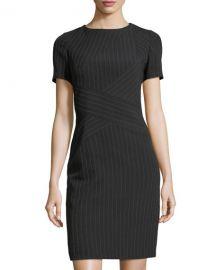 Pinstripe Crisscross Short-Sleeve Dress by Tahari ASL at Last Call