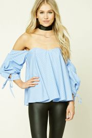 Pinstripe Off-the-Shoulder Top   Forever 21 - 2000269545 at Forever 21