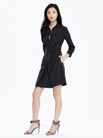 Pinstripe Tie Waist ShirtDress at Banana Republic
