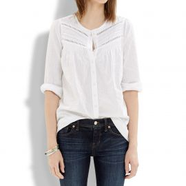Pintuck Eyelet Blouse at Madewell