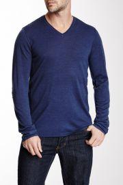 Pintuck Merino Wool Blend V-Neck Sweater at Nordstrom Rack