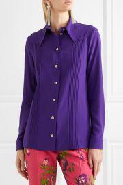 Pintucked silk crepe de chine shirt at Net A Porter
