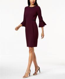 Piped Bell-Sleeve Sheath Dress at Macys