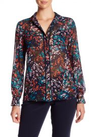 Piped Button Front Sheer Floral Pocket Blouse at Nordstrom Rack