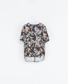 Piped Printed Top at Zara
