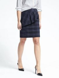 Plaid Asymmetrical Peplum Skirt  at Banana Republic