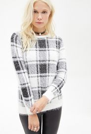 Plaid Fuzzy Knit Sweater  Forever 21 - 2000119920 at Forever 21