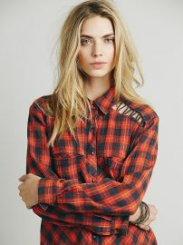Plaid Lace up Buttondown at Free People