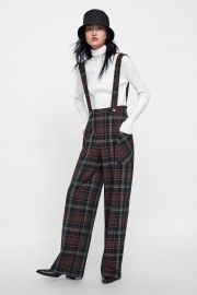 Plaid Overall Jumpsuit at Zara