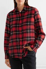 Plaid silk crepe de chine shirt at Net A Porter