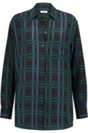 Plaid silk crepe de chine shirt at The Outnet