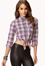 Plaid tie front shirt in red at Forever 21