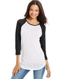 Planet Gold Juniors Slub-Knit Baseball Tee at Macys