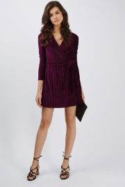 Pleated Velvet Wrap Dress at Topshop